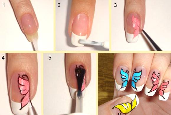 Простые рисунки гелем на ногтях пошагово фото